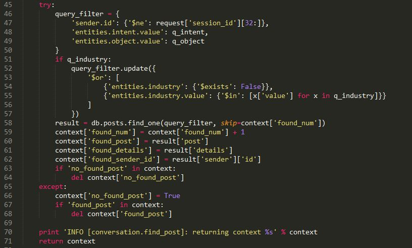 Example of a code snippet